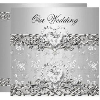 Carte Coeur blanc de diamant d'argent élégant de mariage