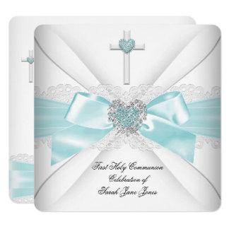 Carte Coeur blanc turquoise de première sainte communion