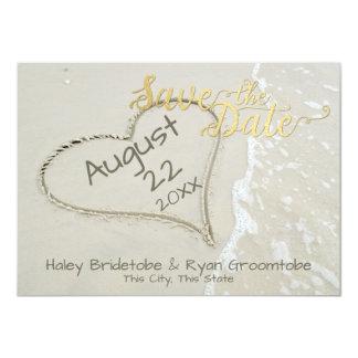 Carte Coeur dans le mariage de plage de sable