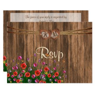 Carte Coeur de monogramme de RSVP avec des fleurs