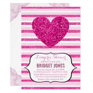 Carte Coeur nuptiale de parties scintillantes de rose de