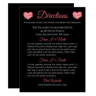 Carte Coeur rose et noir d'amour de directions de