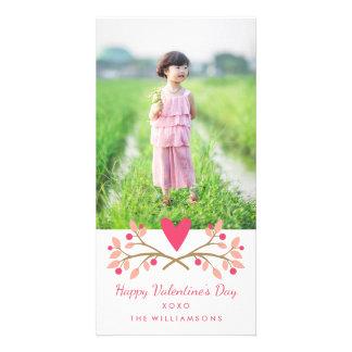 Carte Coeur vintage de Saint-Valentin et photo de baies