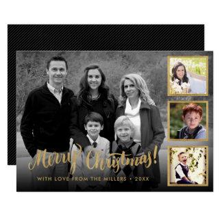 Carte Collage élégant de Joyeux Noël d'or de Styish
