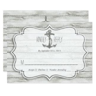 Carte Collection en bois blanchie nautique de mariage de