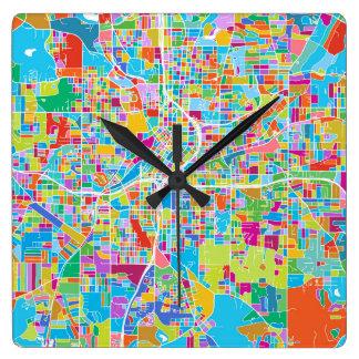 Carte colorée d'Atlanta Horloge Carrée