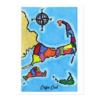 Carte colorée de Cape Cod