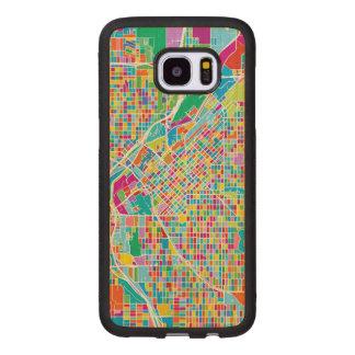 Carte colorée de Denver Coque En Bois Galaxy S7 Edge