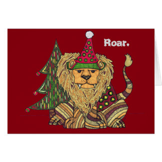 Carte colorée de vacances de lion