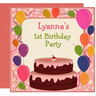 Carte colorée d'invitation d'anniversaire de