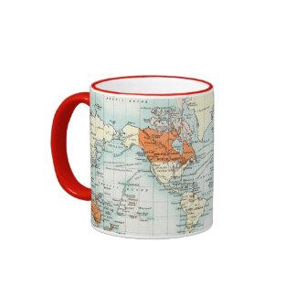 Carte commerciale antique du monde tasses