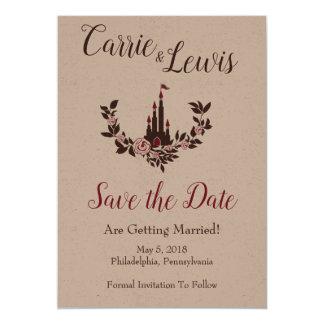 Carte Conception romantique de mariage avec le château