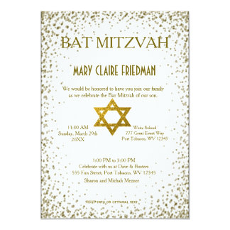 Carte Confettis d'or du bat mitzvah |