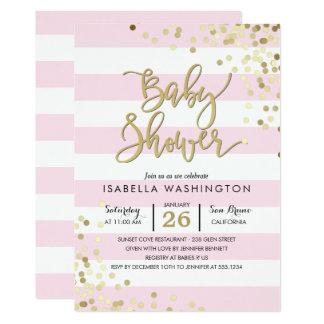 Carte Confettis élégants d'or du baby shower | et