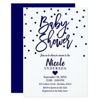 Carte Confettis modernes de baby shower de manuscrit de