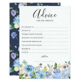 Carte Conseil bleu d'hortensias d'aquarelle pour les