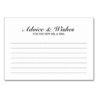 Carte Conseil et souhaits noirs et blancs élégants de