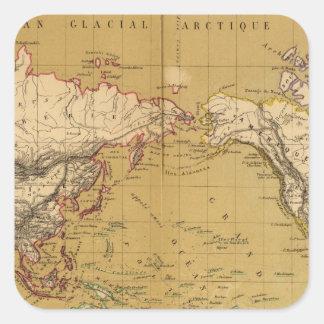 Carte continentale autocollant carré