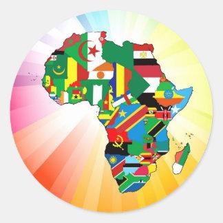 Carte continente 2 de drapeau de l'Afrique Sticker Rond
