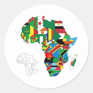 Carte continente de drapeau de l'Afrique Autocollants Ronds