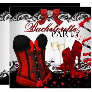Carte Corset rouge Champagne de dentelle de Bachelorette