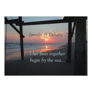 Carte Coucher du soleil sous le mariage de plage de
