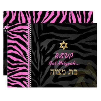 Carte Couleur rose du bat mitzvah RSVP/do-it-yourself de