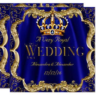 Carte Couronne d'or de mariage de marine de bleu royal
