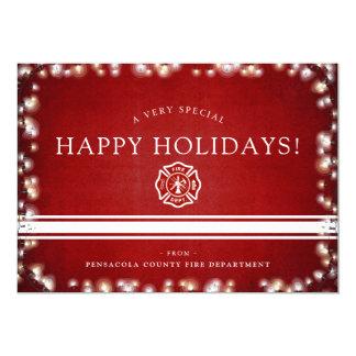 Carte Coutume de Noël du sapeur-pompier bonnes fêtes |