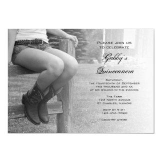 Carte Cow-girl à l'invitation de Quinceañera de partie