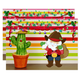 Carte Cowboy mignon Père Noël et Noël de sud-ouest de
