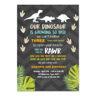 Carte Craie de partie de dinosaure d'invitation