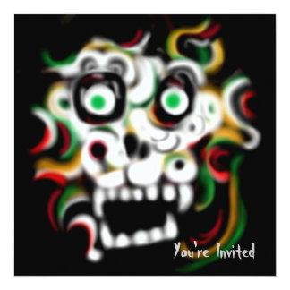 Carte Crâne d'invitation de partie de Halloween