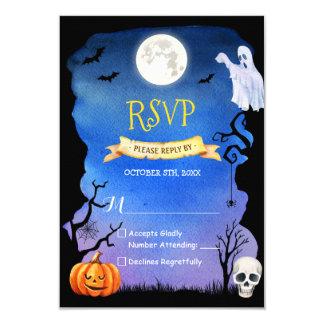 Carte Crâne éffrayant Halloween RSVP de fantôme de