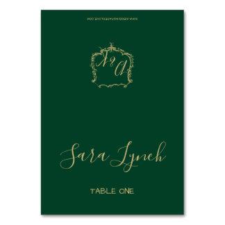Carte Crête décorée d'un monogramme d'or et épouser de