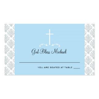 Carte croisée bleu-clair d'allocation des places d cartes de visite personnelles