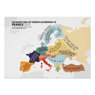 Carte culinaire de l'Europe selon la France Poster