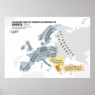 Carte culinaire de l'Europe selon la Grèce Poster