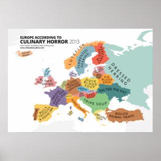 Carte culinaire d'horreur de l'Europe Poster