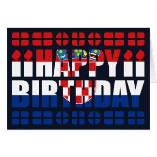 Carte d anniversaire de drapeau de la Croatie