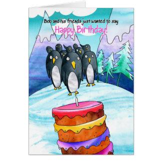 Carte d anniversaire de pingouin
