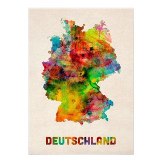 Carte d aquarelle de l Allemagne Deutschland Cartons D'invitation