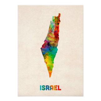 Carte d aquarelle de l Israël Cartons D'invitation