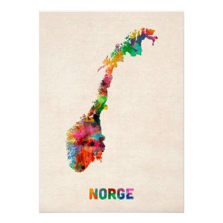 Carte d aquarelle de la Norvège Bristol Personnalisé