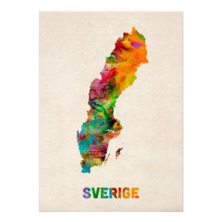Carte d aquarelle de la Suède Bristols Personnalisés