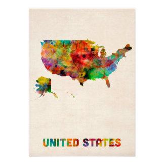 Carte d aquarelle des Etats-Unis Invitation