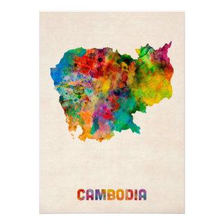 Carte d aquarelle du Cambodge Bristol