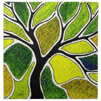 Carte d art d arbre de vert jaune serviette en tissu