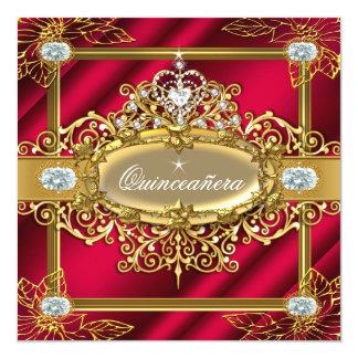 Carte Damassé 15ème d'or de rouge riche de Quinceanera
