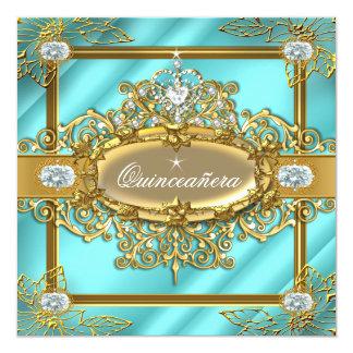 Carte Damassé bleue turquoise 15ème d'or de Quinceanera